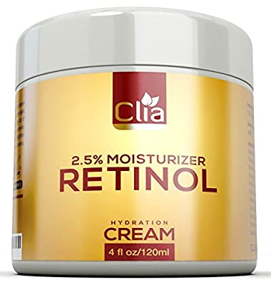 Retinol Night Cream 2.5 Moisturizer for Face, Eyes | Huge 4 Ounce | Natural Lotion w/ Vitamin C, E, Jojoba | Anti-Aging | Anti-Wrinkle Firming Cream for Fine Lines, Wrinkles and Dry Skin