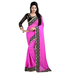 Women's Exclusive Pink Lace Border Work Sari with Blouse