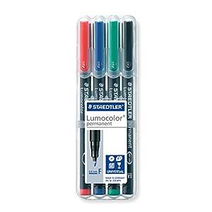 Staedtler 318 WP4 Lot de 4 feutres universels permanents Lumocolor de couleur différente pour rétroprojecteurs