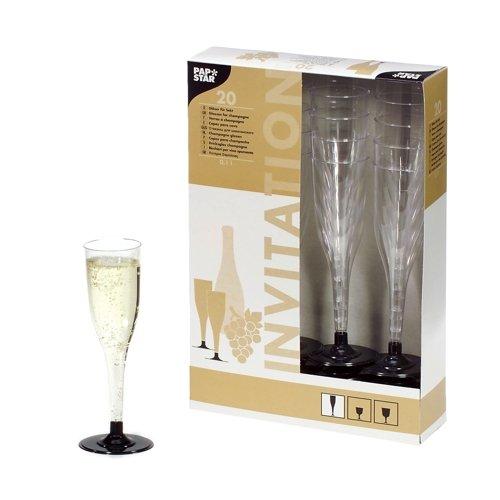 PAPSTAR 12196 Lot de 20 flûtes à Champagne 0,1 l en plastique transparent