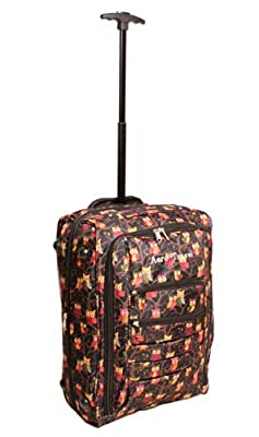 Owl Print Wheeled Lightweight Cabin Suitcase Hand Luggage Flight Travel Bag - Aero Travel