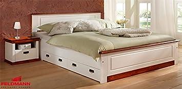 Doppelbett Bett mit Schubladen 633940 Kiefer Massiv weiß / kirschbaum 160x200cm
