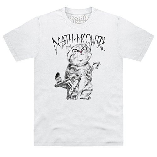 Goodie Two Sleeves Death Meowtal T-shirt, Uomo, Bianco, L