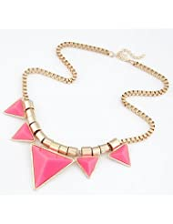 Cilver Fashion Pink Triangle Charms Tribal Design Choker Necklace