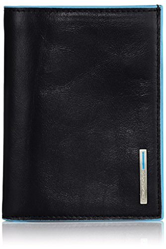 Piquadro PU1394B2/N Portafoglio uomo con portadocumenti e scomparti per banconote e carte di credito Blue Square, 12 cm, Nero