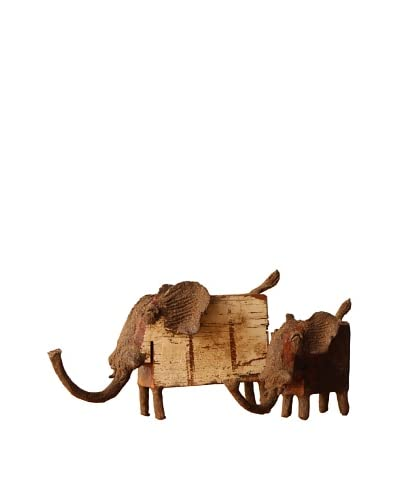 Asian Art Imports Pair of Chin Elephants, Natural Wood