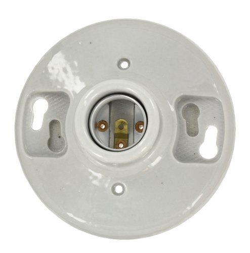 Images for Leviton 49875 One-Piece Glazed Porcelain Outlet Box Mount, Incandescent Lampholder, White