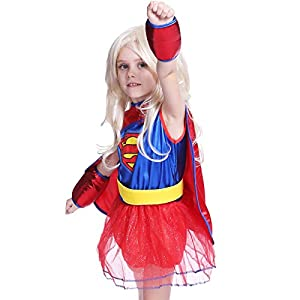 Déguisement Enfant Costume Fille tenue Halloween carnaval Super-heroine superman super girl cape serre bras 3 4 5 6 7 ans