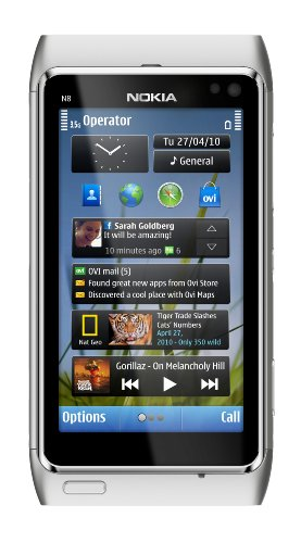 Nokia N8 Unlocked GSM Touchscreen Phone Featuring GPS with Voice Navigation and 12 MP Camera–U.S. Version with Warranty (Silver/White)