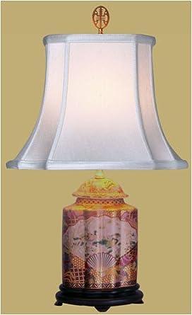 "Asian Furniture & Décor - 23"" Fine Satsuma Fan Medallion Fluted Jar Decorative Oriental Table Lamp"