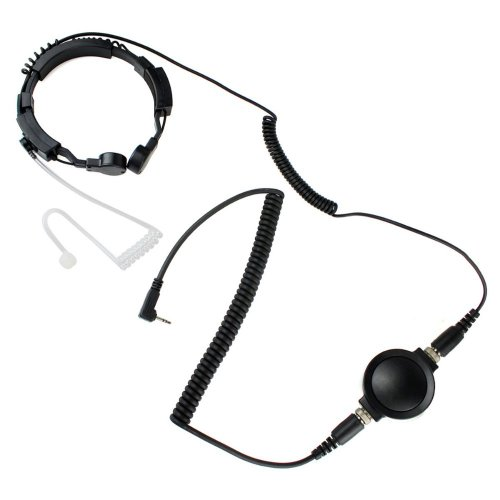 Professional Tactique Military Police Fbi Bodyguard Flexible Throat Mic Microphone Large Ptt Covert Acoustic Tube Earpiece Headset For 1-Pin Motorola Talkabout Cobra Radio