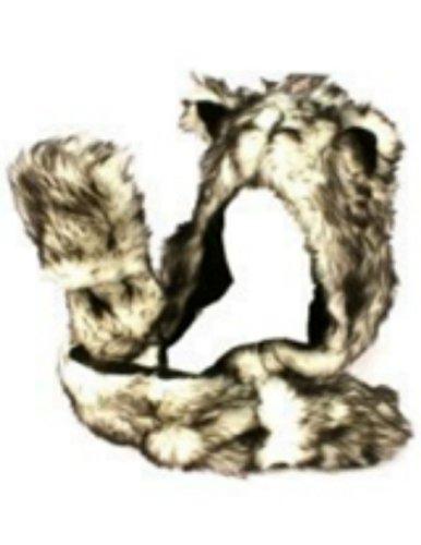 Husky Full Animal Hood Hoodie Hat Faux Fur 3 In 1