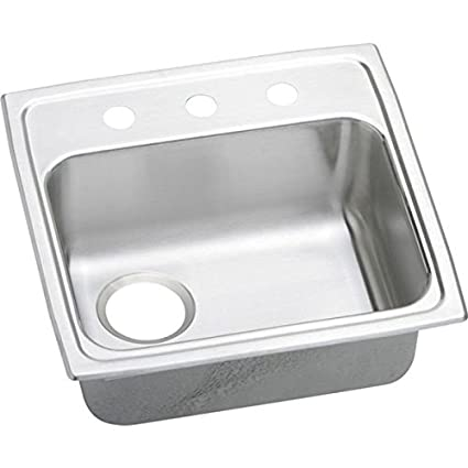 "Elkay LRADQ191855L3 18 Gauge Stainless Steel Single Bowl Top Mount Kitchen Sink with 3 hole, 19"" x 18"" x 5.5"""