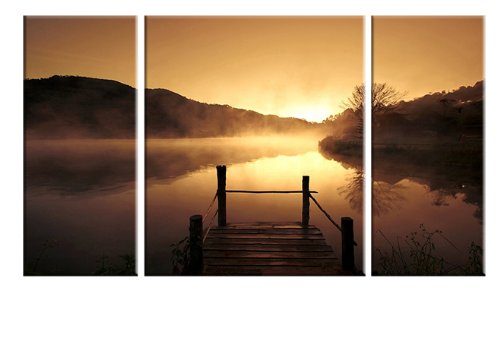 Wieco Art Canvas Print 3 Panels Misty Lake Bronze Modern Canvas Wall Art P3RLA002