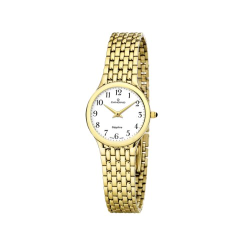 Candino Ladies' Quartz Watch with a White Dial and Gold Stainless Steel Plated Bracelet C4365 1