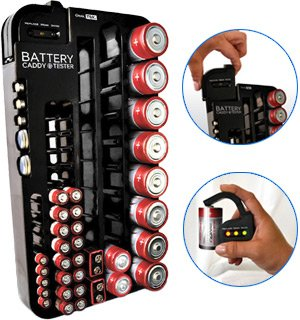 Battery Tester Caddy Organizer holds up to 72 batteries wall mount or counter top (Battery Dispenser compare prices)
