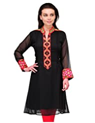 Cenizas Full Sleeve Embellished Women's Casual Black Straight Kurtas (2149BLK)