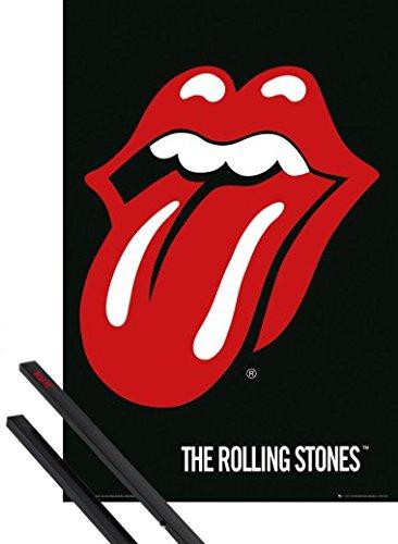 Poster + Sospensione : Rolling Stones Poster Stampa (91x61 cm) Lingua, Logo E Coppia Di Barre Porta Poster Nere 1art1®
