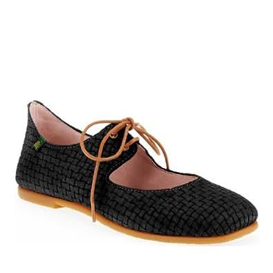 El Naturalista Women's Croche N960 Flat, Suede Black, 38 EU/7-7.5 M US