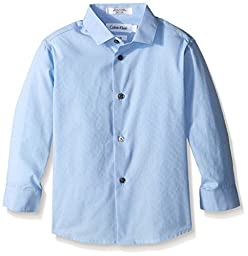 Calvin Klein Dress Up Little Boys\' End On End Dobby Long Sleeve Shirt, Light Blue, 5