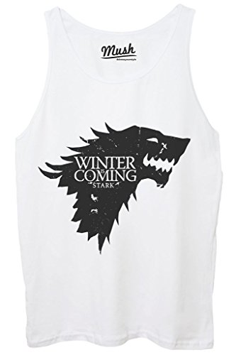Canotta WINTER IS COMING - GAME OF THRONES - FILM by MUSH Dress Your Style - Uomo-M-BIANCA
