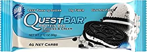 Quest Nutrition Protein Bar, Cookies & Cream, 20g Protein, 2.1oz Bar, 12 Count