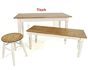 tisch esstisch holztisch holz landhaus weiss braun l120cm k che haushalt. Black Bedroom Furniture Sets. Home Design Ideas