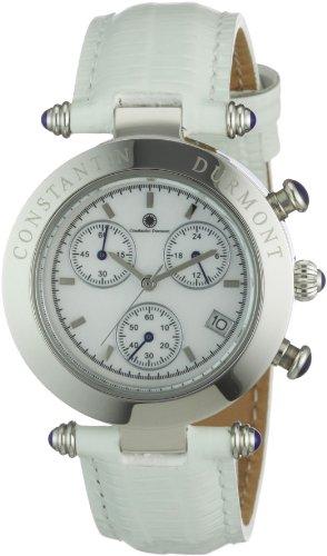 Constantin Durmont Visage - Reloj cronógrafo de mujer de cuarzo con correa de piel blanca (cronómetro) - sumergible a 30 metros