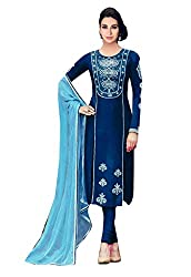 Ishin Cotton Blue Embroiderd Designer Salwar Suit.