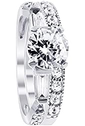 925 Sterling Silver Clear Cubic Zirconia Round Solitaire Wedding Band Engagement Ring Set