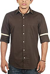 Lapilvi Men's Slim Fit Casual Shirt (lpb0003_chocolate brown_small, Brown, Small)