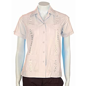 Women Guayabera with embrodiery detail. Pink