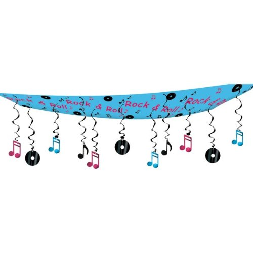 Beistle 50263 1-Pack Rock and Roll Ceiling Decor, 12-Inch by 12-Feet