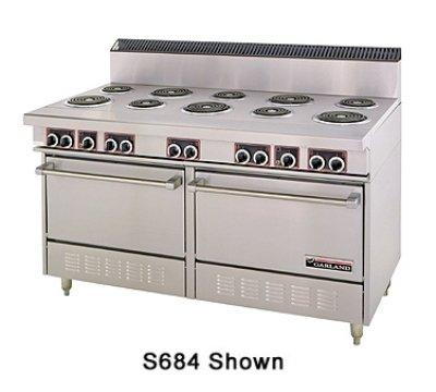 """Garland Ss684 Commercial Electric Range 60""""W, 10 Burners, 2 Ovens"""