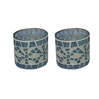 Indiana Glass 31359 Translucent Blue Glass & Plaster Mosaic Designed Candle Holder - Set of 2