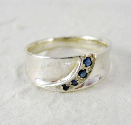 Sterling Silver Precious Gem Stones Ring, Sapphire, 8