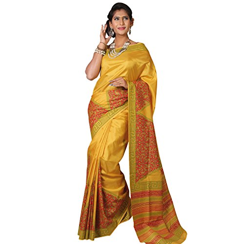 ShreeVastra Yellow Block Printed Soft Silk Saree