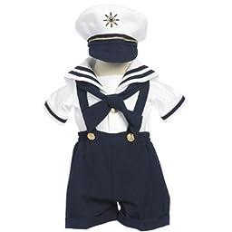 Classykidzshop Navy Sailor Boy Shirt, Shorts, Tie and Hat 4T