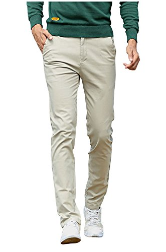 Mintsnow Men's Skinny Flat-Front Stretch Chino Pants Casual Cotton Trousers