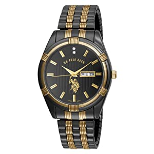 U.S. Polo Assn. Classic Men's USC80047 Gun-Metal Day-Date Black Dial Dress Watch