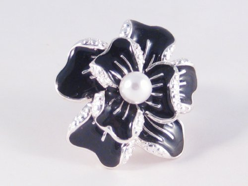 New Beautiful Black Flower Shaped Stretch Ring with Faux Pearl