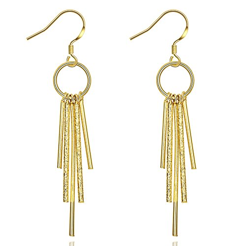 Unique Long Linear Tassel Drop Dangle Earrings For Womens Girls Gold Plated Fashion Wedding Jewelry