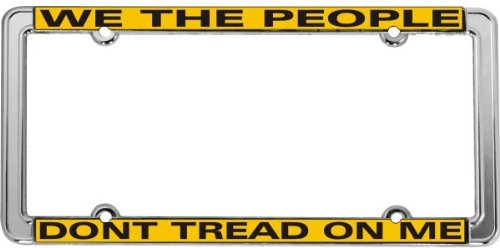 Don'T Tread On Me - Gadsden Tea Party Thin Rim License Plate Frame (Chrome Metal)