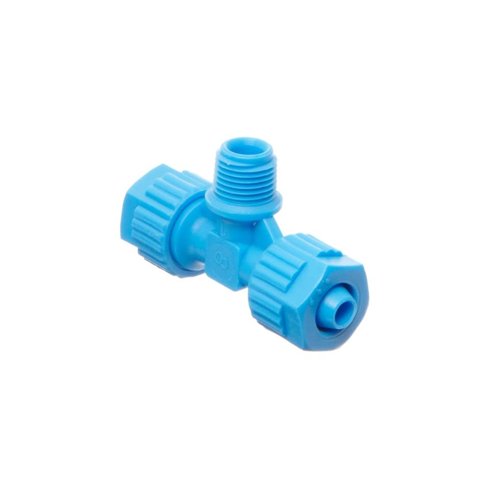 Tefen Fiberglass Polypropylene Compression Tube Fitting, Tee Adapter, Blue, 8 mm Tube OD x 3/8 BSPT Male x 8 mm Tube OD (Pack of 5)