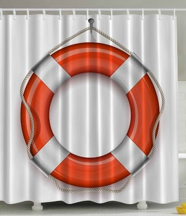 Ambesonne Nautical Coastal Marine Decor Collection, Sea World Lifebuoy Life Belt Preserver Ring and Rope for Ship Sailboat Captain Art Prints Fabric Shower Curtain, 69x70 Inches, White Orange