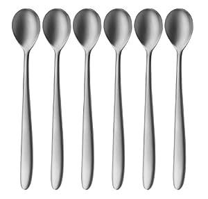auerhahn silk latte macchiato spoon stainless steel 18 10 matt set of 6 kitchen. Black Bedroom Furniture Sets. Home Design Ideas
