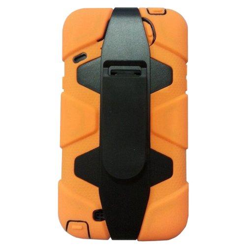 Meaci® Iphone 5C 3 In 1 Orange Defender Body Armor With Tpu Clip Against Shocks Hard Case