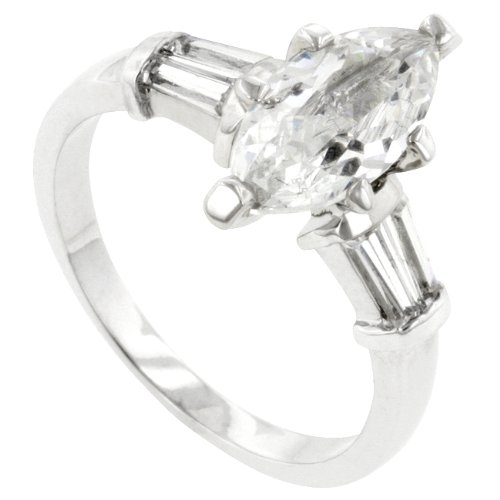 Beautiful Marquise & Bar Set Side Stone Accents Simulated White Diamond CZ Ring, 18K White Gold Filled Metal, Size 8