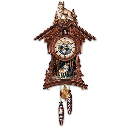 Terry Doughty Sentinels Of The Forest Wolf Art Chalet-Style Wooden Cuckoo Clock by The Bradford Exchange