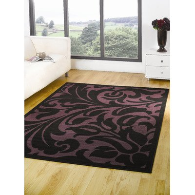 Element Warwick Black / Purple Contemporary Rug/Runner Size: 110cm x 60cm (3 ft 7.5 in x 1 ft 11.5 in)